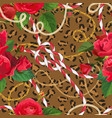chains leopard skin and flowers seamless pattern vector image