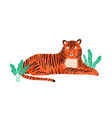 childish portrait relaxed tiger in scandinavian vector image vector image