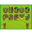 Choco Party Funny brown font Green invitation vector image vector image