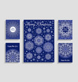 christmas cards with mandala snowflakes on blue vector image vector image