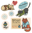 Christmas cats in sweaters stickers for presents