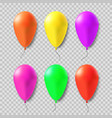colorful set gel balloons on a transparent vector image