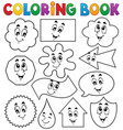 coloring book various shapes 2 vector image vector image