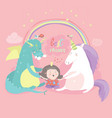 cute cartoon dragon unicorn and little girl vector image