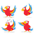 cute parrot cartoon collection set vector image vector image