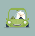 cute white little sheep driving green car vector image vector image