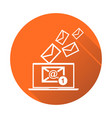 email message on laptop in flat style on orange vector image