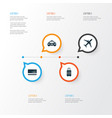 exploration icons set collection of car suitcase vector image