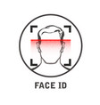 face id scan icon - facial scanner for smart vector image vector image