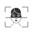 face scanning process glyph icon vector image vector image