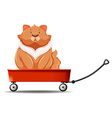 Fat cat sitting on the wagon vector image vector image