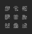 festive season chalk white icons set on black vector image