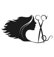 girl and scissors silhouette vector image vector image