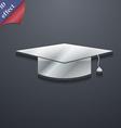Graduation cap icon symbol 3D style Trendy modern vector image