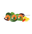 grilled shrimp skewers on mix lettuce leaves vector image vector image