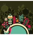 Half round banner with flowers vector image vector image