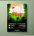 halloween zombie party flyer with vector image vector image