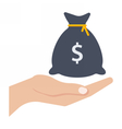 Hand and money bag vector image vector image