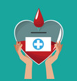hands holding heart glass donate blood vector image vector image