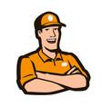 happy worker in work uniform logo service concept vector image