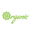 healthy organic food logo with leaf vector image