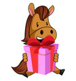 horse with birthday present on white background vector image vector image