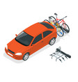 isometric bikes loaded on the back of a van car vector image vector image