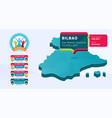 isometric spain country map tagged in bilbao vector image