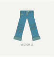Line flat color icon wear - ripped jeans