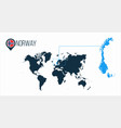 norway location on the world map for infographics vector image vector image