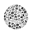 office icons in circle vector image vector image