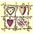Original drawing doodle hearts vector image vector image