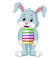 rabbit carrying books cartoon vector image