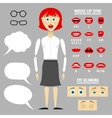 Ready to animation parts of cartoon girl vector image vector image
