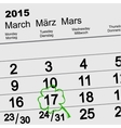 Saint Patricks Day Calendar March 17 vector image
