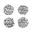 set lettering mother quotes in round shapes vector image