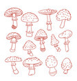 set of poisonous mushroom fly agarics doodle vector image