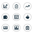 set simple finance icons vector image