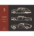 set vintage old cars vector image