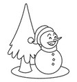 snowman and tree christmas cartoon vector image