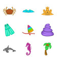 spear fishing icons set cartoon style vector image vector image
