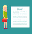 student girl poster with fill form for text case vector image