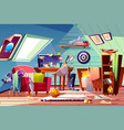 teen boy messy attic room interior cartoon vector image vector image
