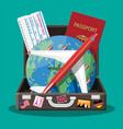 travel suitcase airplane and globe vector image
