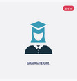 two color graduate girl icon from user concept vector image