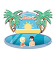 vacations couple in the pool icon vector image vector image