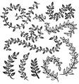 vignettes and floral border Monochrome vintage set vector image