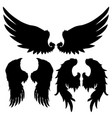 wings silhouettes drawing black white set 7 vector image vector image