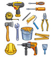 work tools home repair color sketch icons vector image vector image