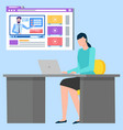 workspace woman freelancer or student vector image vector image